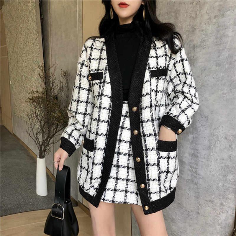 最高品質の秋冬コントラスト黒と白のチェック柄 2 個セット女性ジャケットコート + スリムショートスカートセット