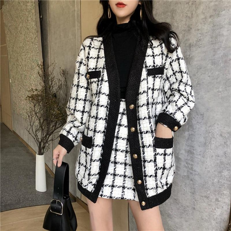 Top Quality Autumn Winter Contrast Black And White Plaid Tweed 2 Piece Set Women Loose Woolen Jacket Coat + Slim Short Skirt Set