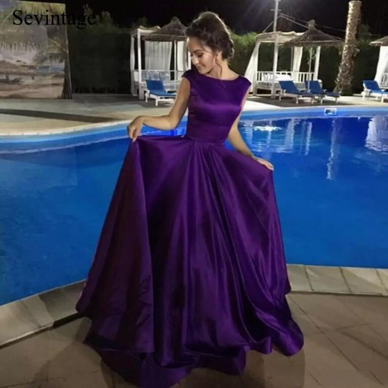 Sevintage Simple O-Neck Satin Long Prom Dresses A Line Sleeveless Backless Evening Gowns robe de soiree Formal Woman Party 2020