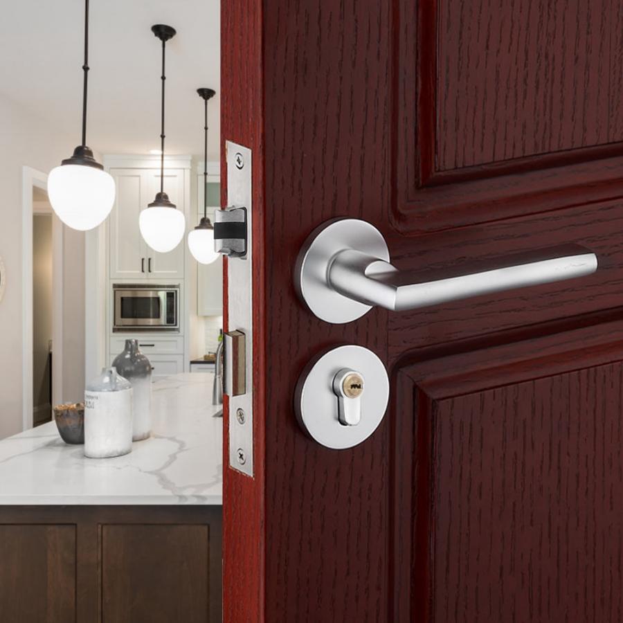 Cerradura de seguridad interior para el dormitorio Cerradura de puerta con material de aluminio Space sala de estar
