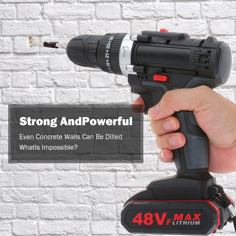Driver Double Battery With Drill Drill Wrench 48VF Wireless Speed Impact Screwdriver Hand Tool Power Drill Drill Hammer Electric