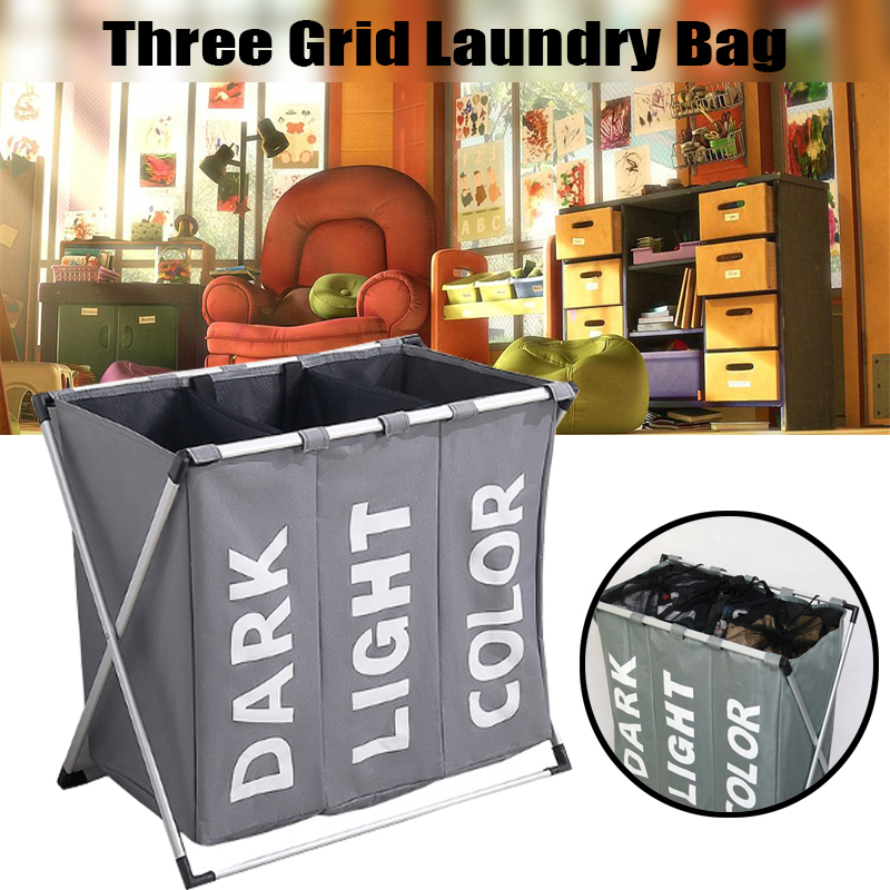 Three Grid Oxford Waterproof Dirty Laundry Organizer Foldable Basket Storage Bag Hamper Sorter Home Laundry Hamper