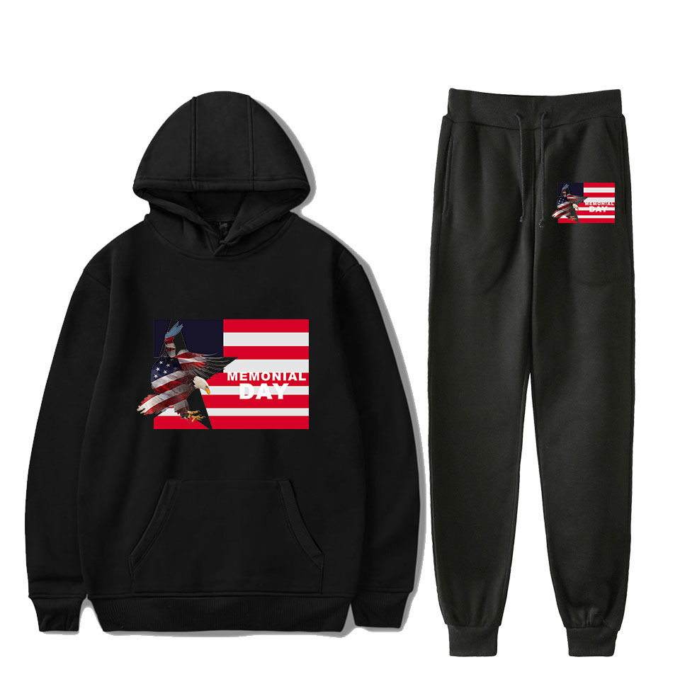 America Culture Memorial Day Activity Anniversary Europe And America Hooded Sweater Ankle Banded Pants Sports Set