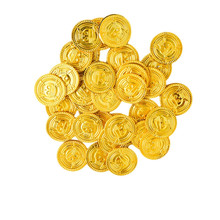 Cyuan 50 Pcs Plastic Gold Treasure Coins Pirate Gold Coins Props Toys Halloween Decoration Kids Birthday Party Props Accessories