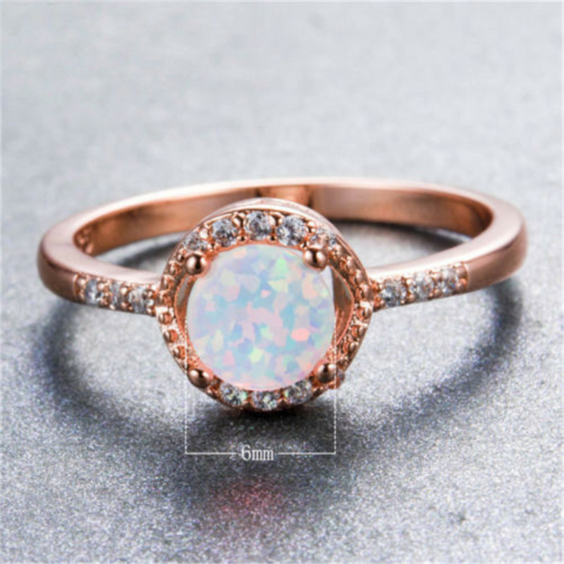 New Opal Crystal Rings For Women White Elegant Rings Female Engagement Wedding Bridal jewelry Gift Size5 11