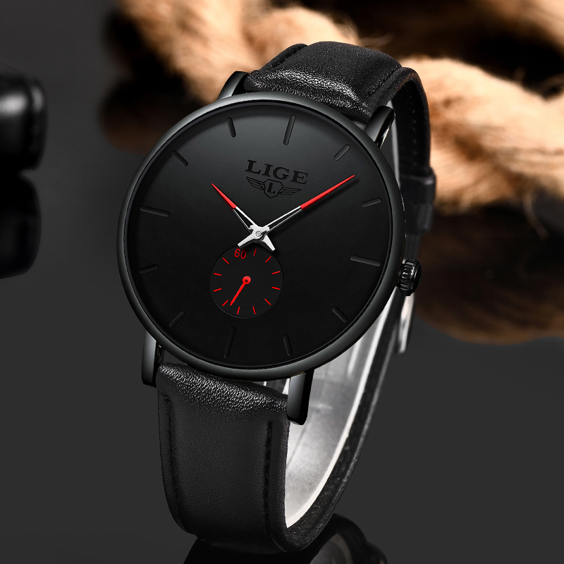 Image 4 - 2019 Fashion Silple Thin Watch For Mens Watches Top Brand Luxury Male Casual Leather Waterproof Quartz Clock Relogio Masculino-in Quartz Watches from Watches