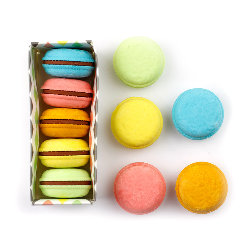 6 Set/Lot Mini Macaron Cake Color Eraser For Pencil Kids Gift Wholesale Cute Stationery Gift Items Office School Tools F471