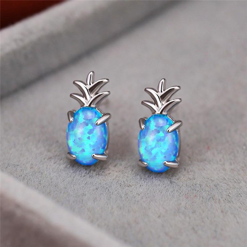Cute Pineapple Blue/White Opal Stud Earrings For Women White Gold Fruit Jewelry Oval Fire Stone Earring Female Party Accessories