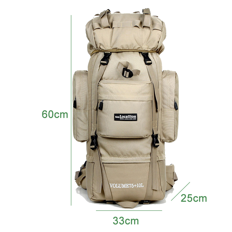 YoReAi Outdoor Oxford Waterproof Solid Hiking Bag 75L Aluminum Alloy Bracket Camping Rucksack Camouflage Travel Luggage Backpack