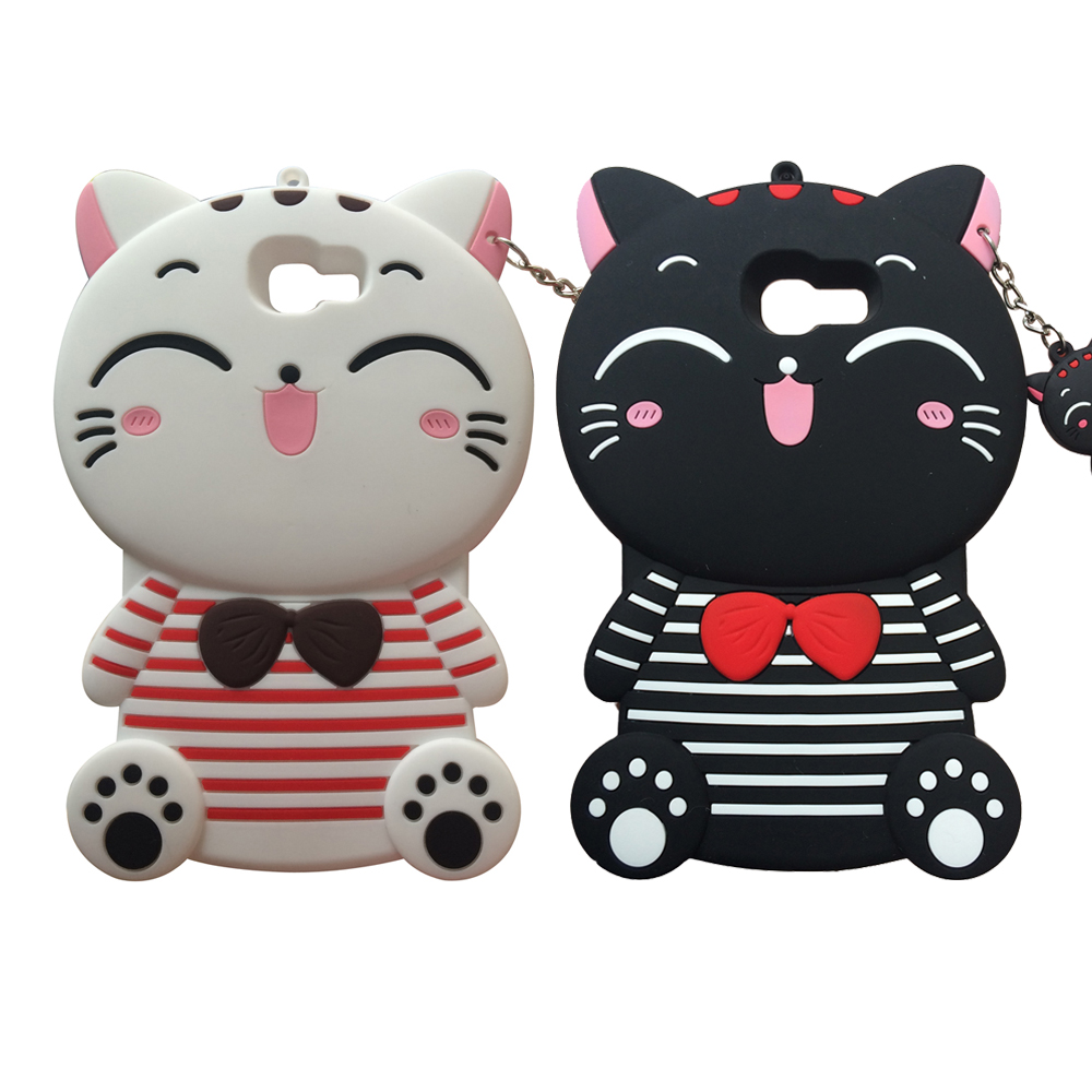 For Samsung Galaxy J1 J2 J3 J5 J7 A5 A7 2015 2016 Prime mini J310 J510 J710 S9 S10 S10Plus 3D Lucky Cat Soft Silicone Case Cover image