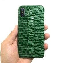 Solque 정품 가죽 핸드 스트랩 홀더 케이스 아이폰 X XS 최대 SE 2020 7 8 플러스 10 전화 럭셔리 슬림 하드 커버 귀여운 도마뱀