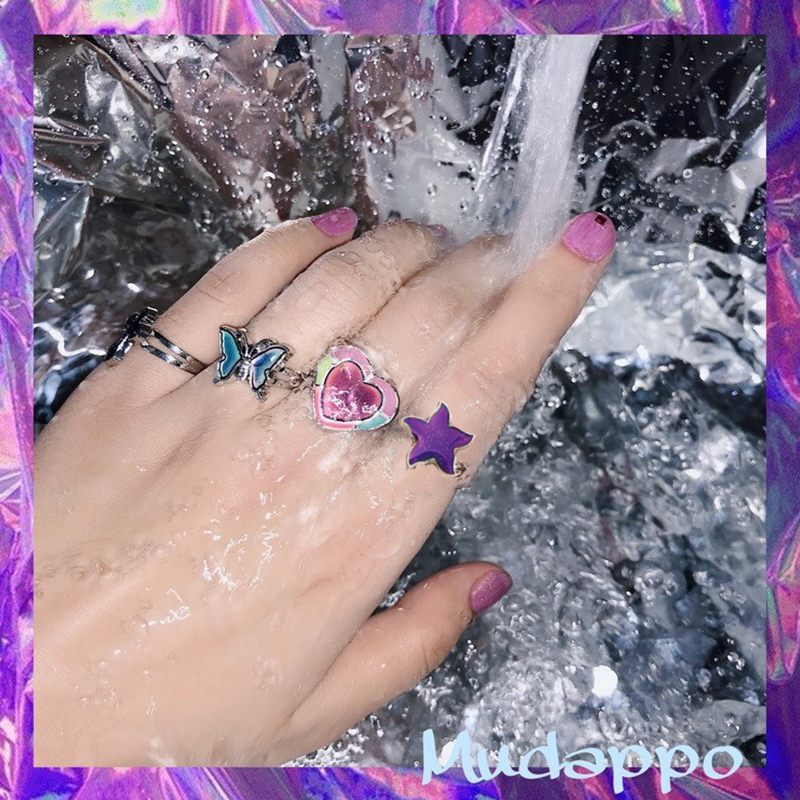 HUANZHI Lovely Butterfly Temperature Control Color Ring Heart Cross Bear Cat Starfish Color Change Adjustable Rings for Women Rings    - AliExpress