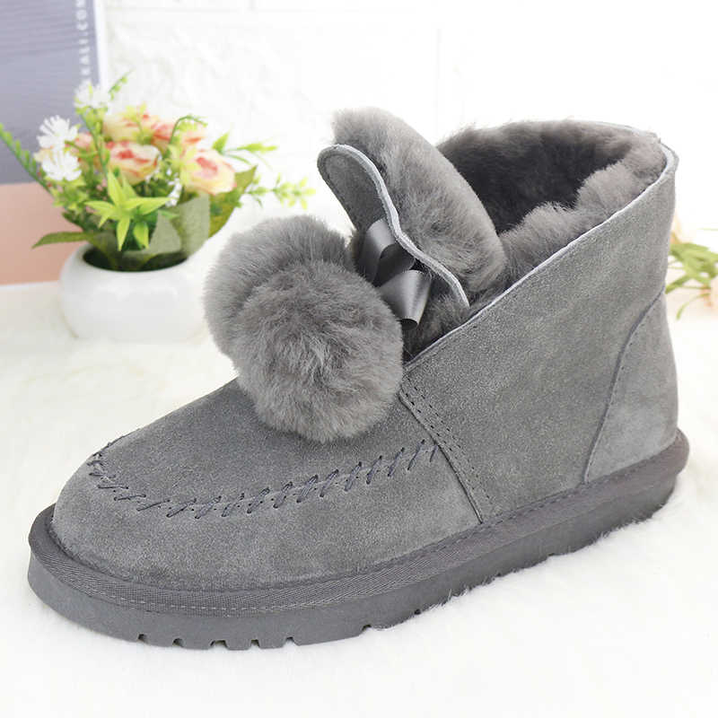 Top Fashion Genuine Leather Snow Boots Women Shoes Non-slip Rubber Soles Ankle Boots Natural Fur Thick Wool Warm Winter Boots