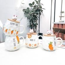 Cartoon 3D Rabbit Carrot Ceramic Mug Breakfast with Wooden Lid Spoon Unique Water Lovers Tea Cups Drinkware Coffee Mugs Home