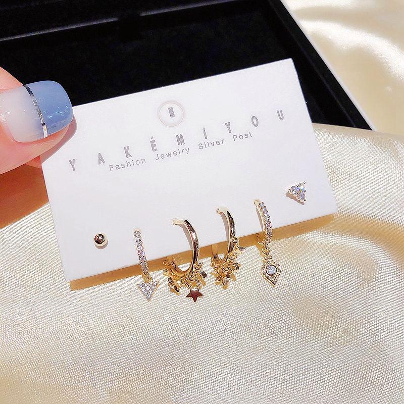 High-end CZ Crystal Triangle Star Dangle Earrings Set Gold Color AAA Cubic Zircon Earrings for Women