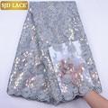SJD LACE Neueste Afrikanischen Mesh Spitze Stoff Embroiderey Pailletten Perlen Französisch Tüll Schnürsenkel Stoff Für Nigerian Hochzeit Party SewA1956