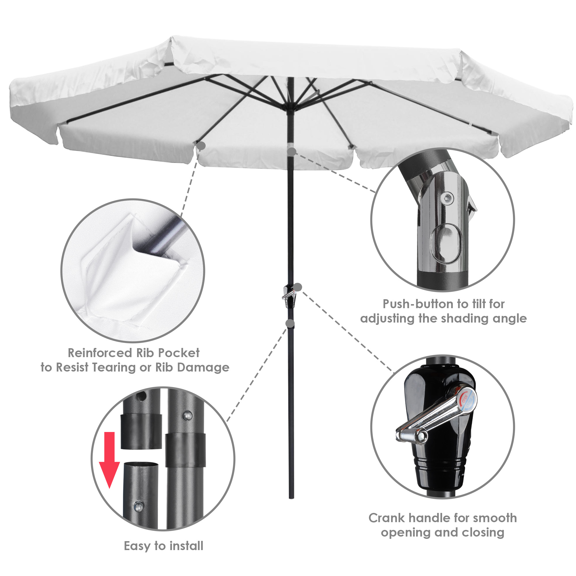 rib outdoor patio umbrella