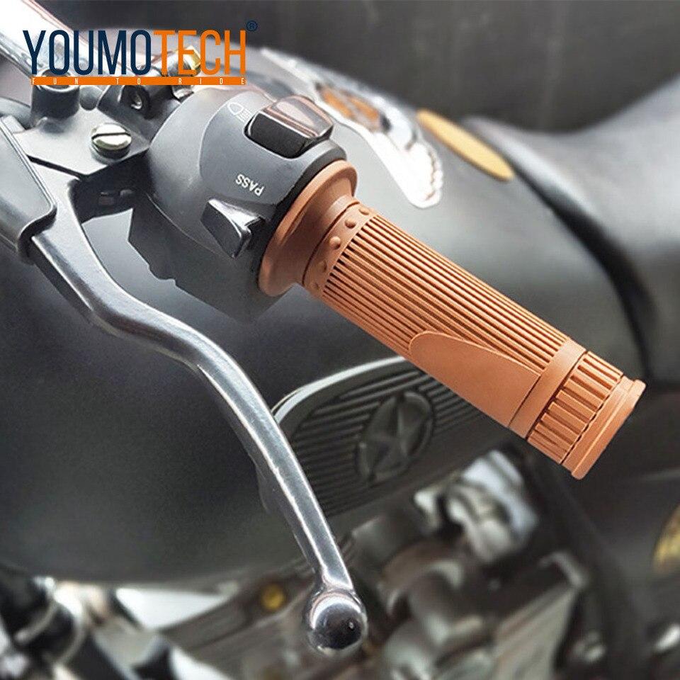 Soft Rubber 22mm left 25mm right Hand Grip Handlebar Bobber Cafe Dirt Bike