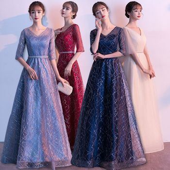 Plus Size Evening Host Long Dresses V Neck Sequins Yarn Lace Up Simple Party Gown Soiree Sexy Formal Dress MS-0090