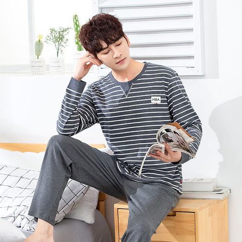 Autumn Winter Men's Cotton Pajamas Letter Striped Sleepwear Cartoon Pajama Sets Casual Sleep&Lounge Pyjamas Plus Size 3XL