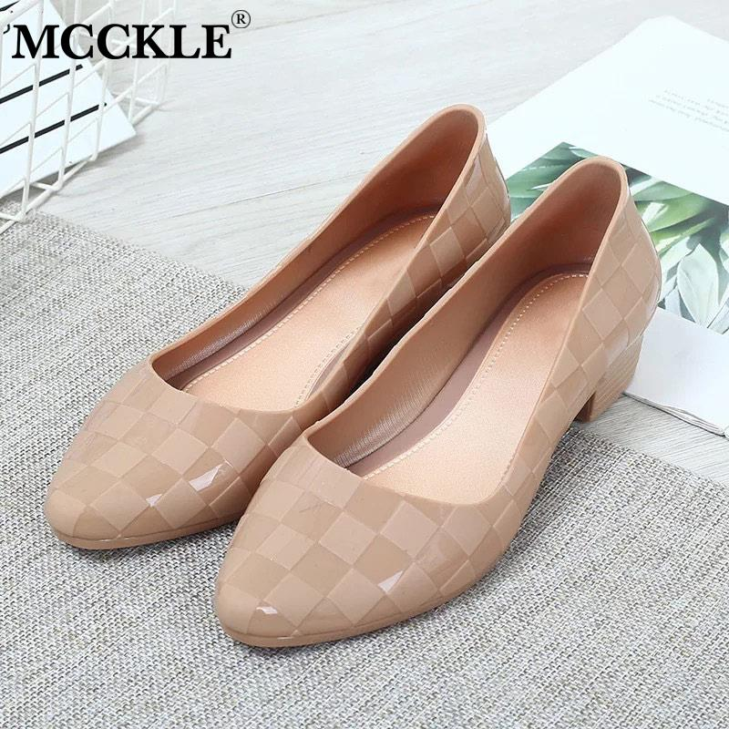 MCCKLE Women Spring Thick Heels Pumps Ladies Slip On Shallow Jelly Shoes Woman Fashion Casual Femles Pointed Toe Shoes