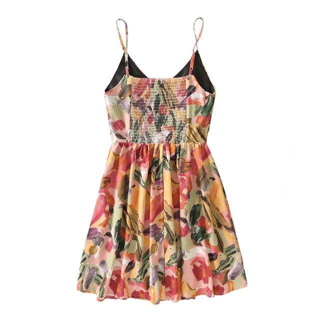 Qeils Women Casual Chic Fashion Graffiti Print Pleated Mini Dress Vintage Sleeveless Backless Elastic Female Dresses Vestidos 2