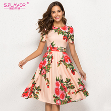 S.FLAVOR Women Printing Summer Dress Elegant Short Sleeve Spring Midi Dress For Female Women Casual Vestidos De