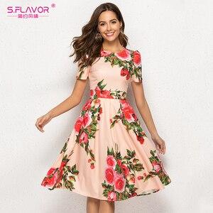 Image 1 - S. טעם נשים הדפסת קיץ שמלה אלגנטית קצר שרוול אביב Midi שמלת עבור נקבה נשים מקרית Vestidos דה