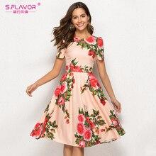 S.風味の女性印刷サマードレスエレガントな半袖春ミディドレス女性のためのカジュアルvestidosデ