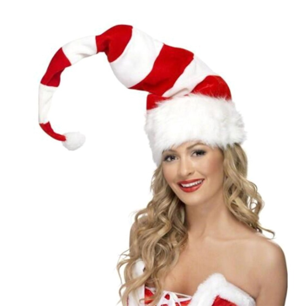 Christmas Cap Plush Xmas Red Cap Santa Stripe Hat for Christmas Party (7)