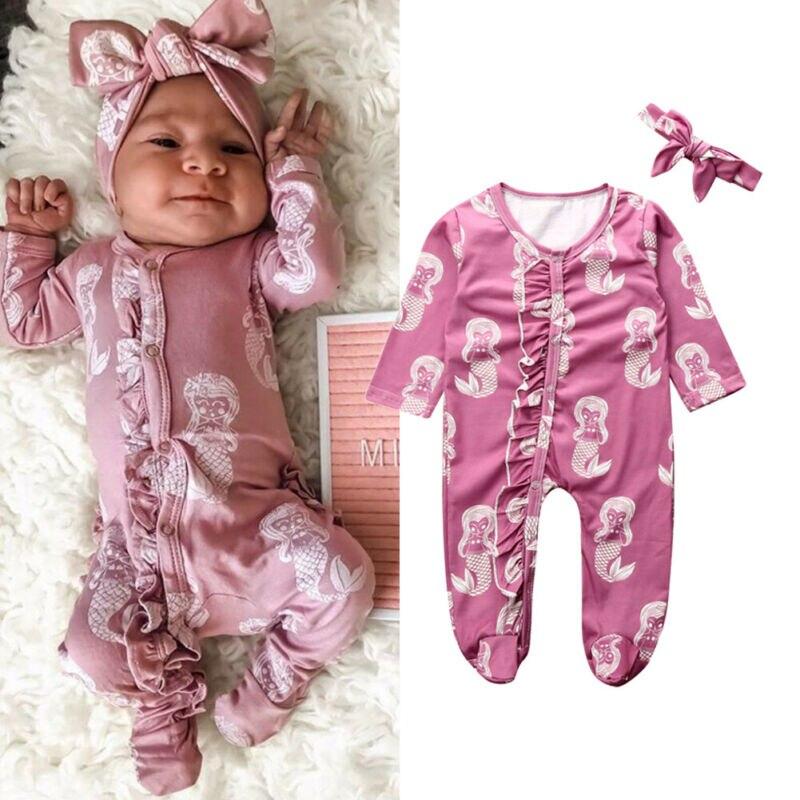 Newborn Baby Girl Wraps Footies Jumpsuit Cute Cartoon Mermaid Print Long Sleeve Comfortable Playsuit Infant Girl Clothes