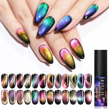 LILYCUTE 5ml 9D Chameleon Magnetic Gel Polish Shining Glimmer Purple Green Mixed Colors Nail Art Soak Off UV Gel Varnish