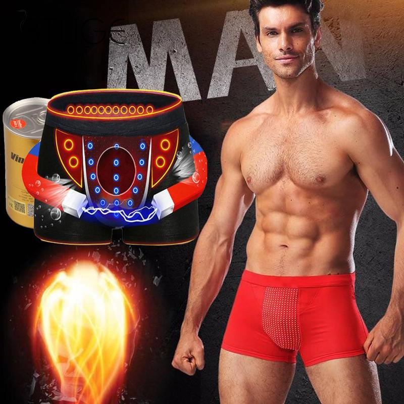 Magnetic Underwear Boxer-Shorts Sexy Cotton Mens U Convex