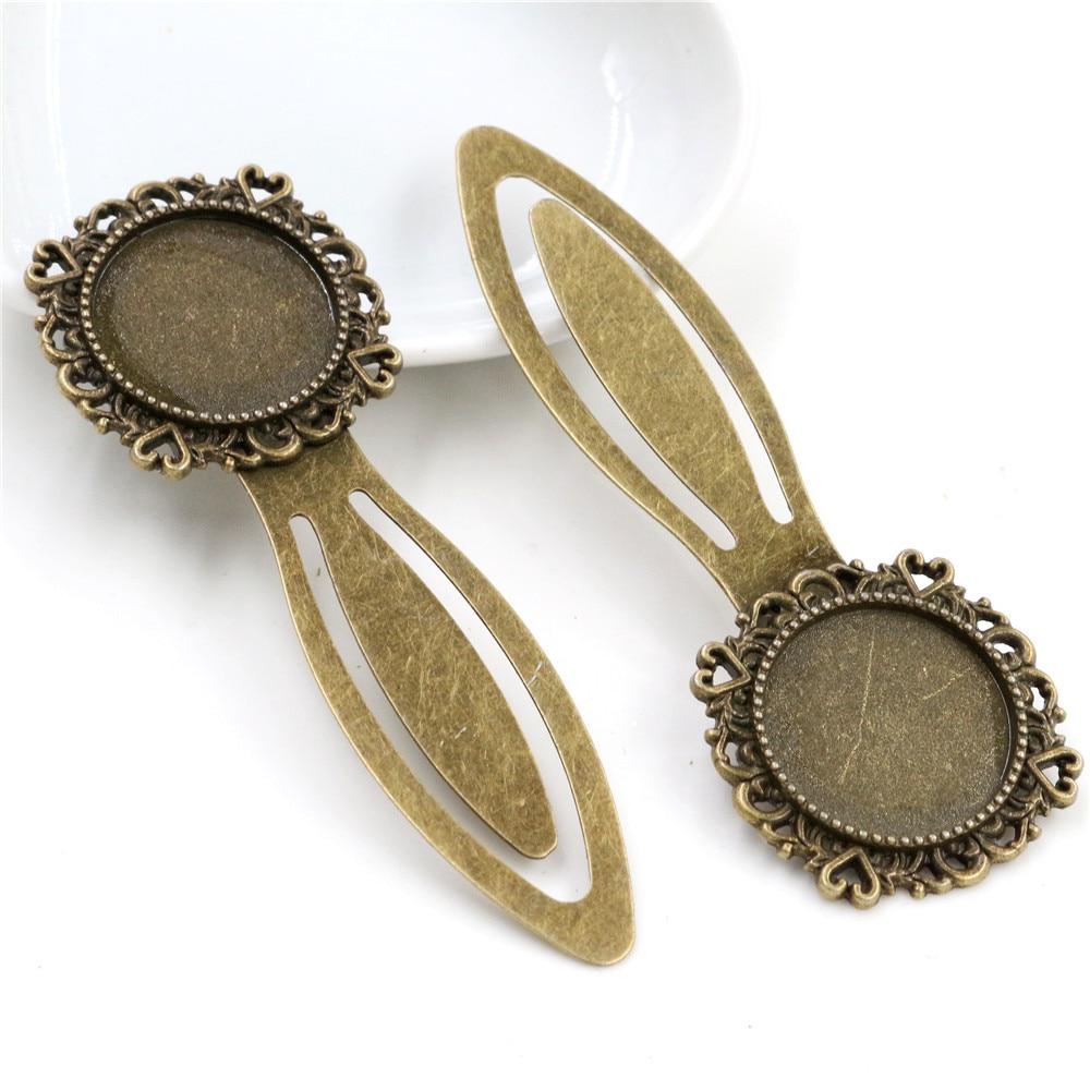 New Fashion 2pcs 20mm Inner Size Antique Bronze Vintage Style Handmade Bookmark Cabochon Base  Cameo Setting (I1-21)