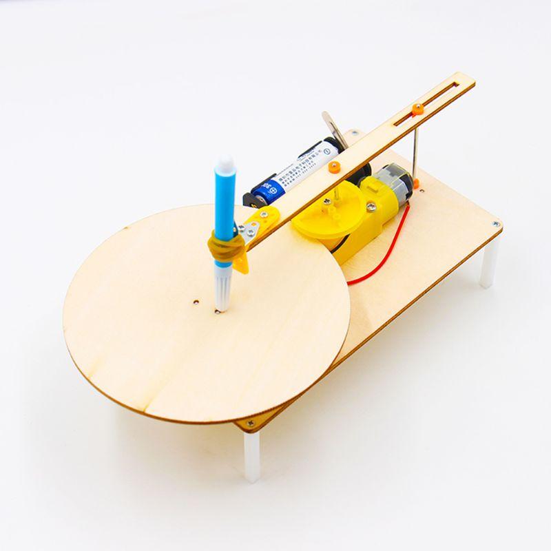 Creative DIY Electric Plotter Drawing Assembled Kits Children Handmade Graffiti Toy Science Apparatus Physics Experiment Set