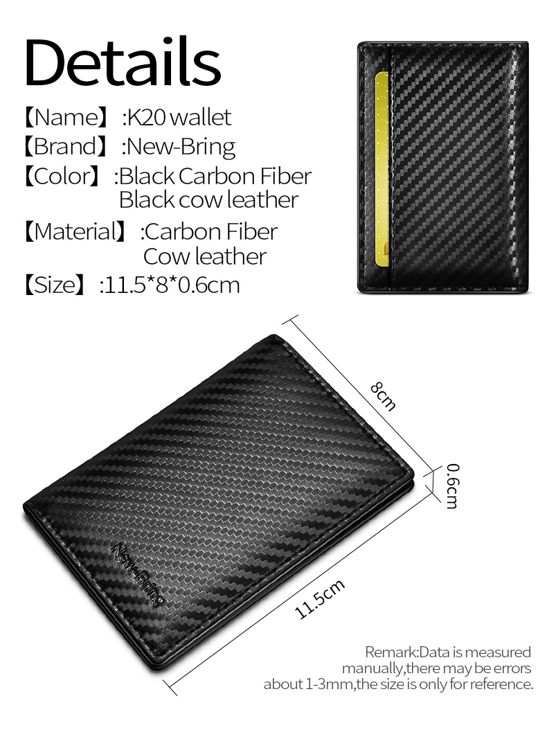 NewBring Carbon-Fiber-Look Leather ID Credit Card Holder RFID Blocking Wallet Cover Driver License Purse