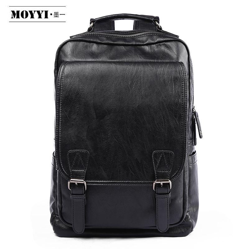 MOYYI Fashion Men Backpack Waterproof Zaini Pelle PU Leather Laptop Backpack Minimalist Bag Outsoor Travel Mochila