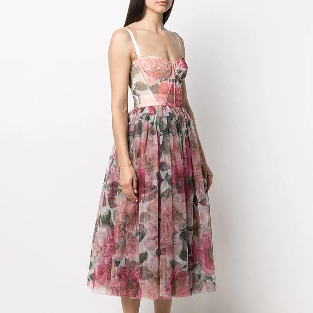 2021 New arrive V-neck women summer flower dress 1
