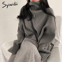 Syiwidii Blau Rollkragen Pullover für Frauen Herbst Winter 2021 Neue Pullover Kurze Gestrickte Lose Koreanische Top Fashion Casual Jumper