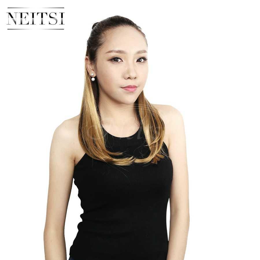 Neitsi 3 шт./компл. 14 ''шиньон синтетический зажим для наращивания волос прямые 8 зажимов высокотемпературные искусственные накладные волосы Золотой Блонд