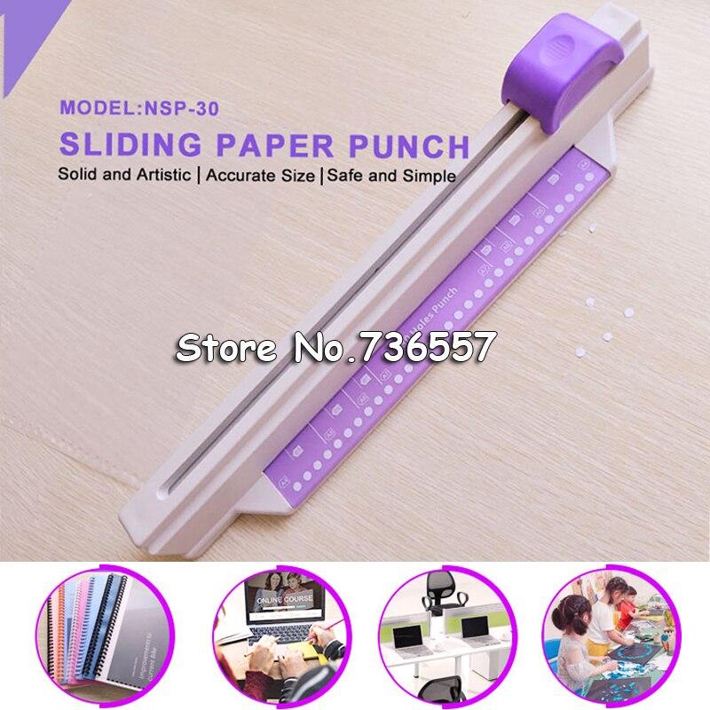 1 set  paper cutter дырокол 30 holes puncher sliding paper punch 30 holes A4 B5 A5 A7 B7 A6 B6 5 sheets perforadora papel