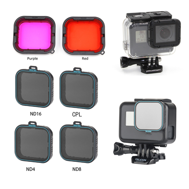 TELESIN lens Diving Filter Polarizied Filter CPL filtros ND 4/8/16 filters for GOPRO HERO 5 6 7 hero7 hero5  hero6 protector
