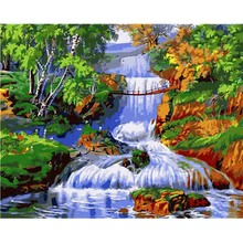Hot Sale Oil Painting On Canvas Handmade River Trees Pictures By Numbers Digital Acrylic Wall Art DecorationHome