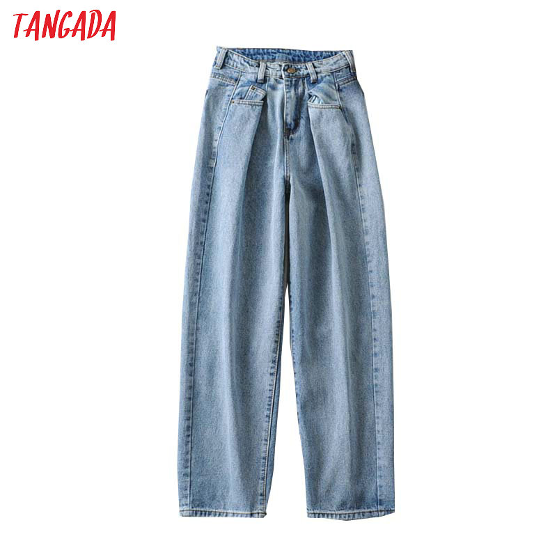 Tangada 2020 Fashion Women Loose Mom Jeans Pants Long Trousers Pockets Zipper Loose High Street Female Pants 2A06