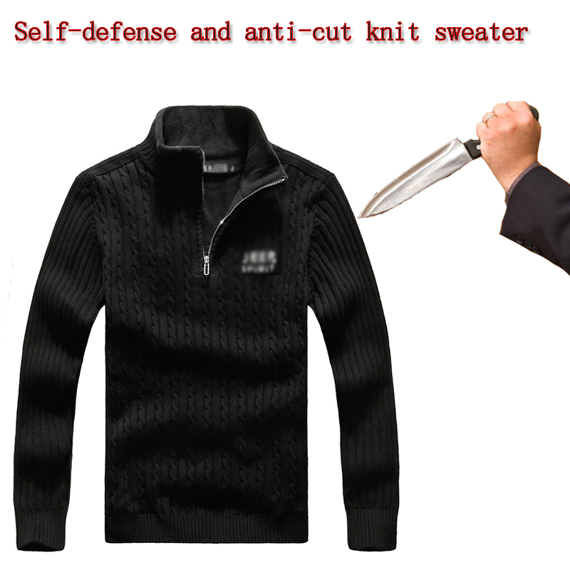 2020 Self Defense Tactical Anti-stab Stab-resistant Pullover Sweater Invisible Flexible Long Sleeve Safety Protective Clothing