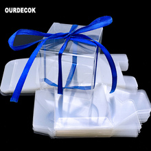 50 Piece 6x6x6cm Transparent Square Gift Boxes Wedding Favor Party Candy Bags Christmas Decoration