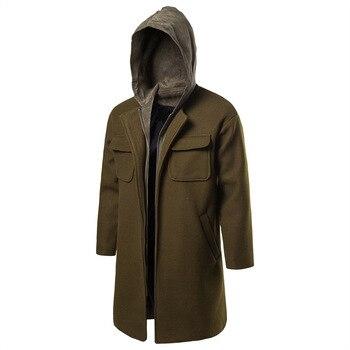 Men Trench Winter Windbreaker Hats New Slim Fashion Long Trench Coats Hombre Overcoat Jackets Masculino Wollen Autumn
