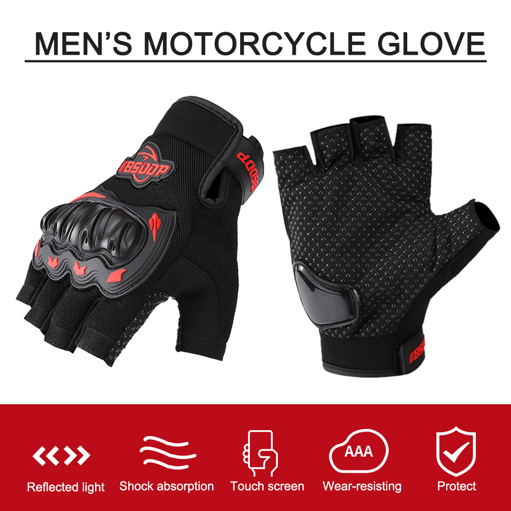 Кожаные Мотоциклетные Перчатки без пальцев перчатки для мопеда и мотокросса Moto жесткая защита пальцев с открытыми пальцами для верховой ез...