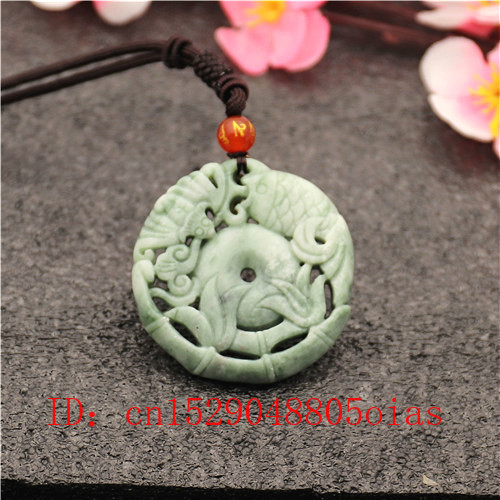 Natural White Green Carp Bat Jade Pendant Necklace Hollow Out Double-sided Carved Charm Jewellery Fish Amulet Gifts For Women
