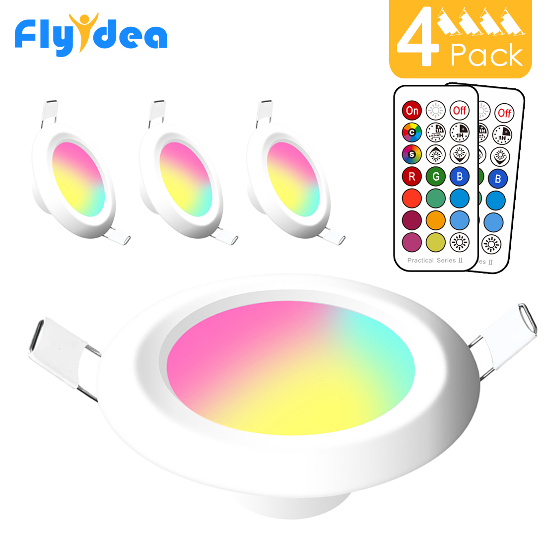 LED Downlight Round Multicolor Dimmable 7W RGBW LED Kid Ceiling Recessed Spot Light Infrared Controller Color Changing 110V/220V